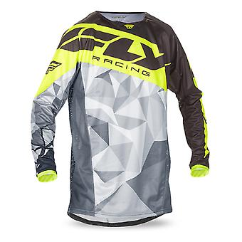 Fly Racing Black-Grey-Hi-Viz 2017 Kinetic Crux Kids MX Jersey