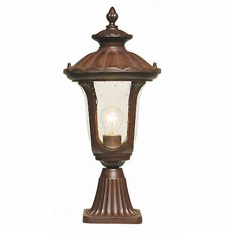 1 lumière petit de plein air Pedestal Lantern Rusty Bronze Ip44