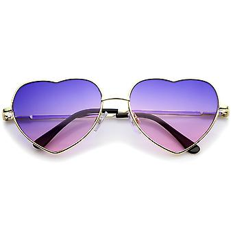 Small Thin Metal Frame Temples Vibrant Colored Gradient Lens Heart Sunglasses 52mm
