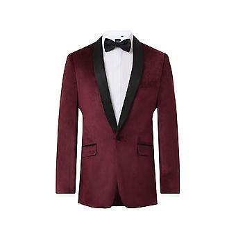 Dobell Mens bordowy Tuxedo kolacji marynarka Slim Fit Velvet kontrastu szal klapie