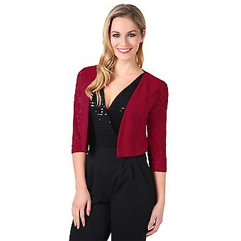 KRISP  Women Ladies Lace Back 3/4 Sleeve Cropped Party Shrug Top Bolero Cardigan Jacket