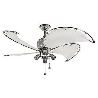 Spinnaker di ventilatore a soffitto bianco con illuminazione 132 cm/52