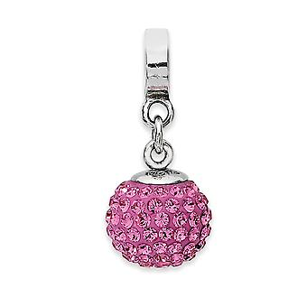925 Sterling Silver Polished Reflections Oct Crystal Ball Dangle Bead Charm