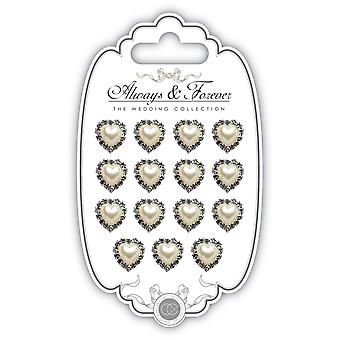 Craft Consortium Always & Forever Pearl Embellishment 15/Pkg-Heart AFCHRM01