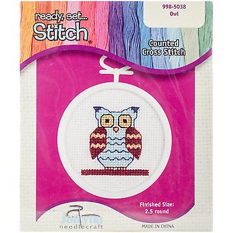 Owl Mini Counted Cross Stitch Kit 2 1 2