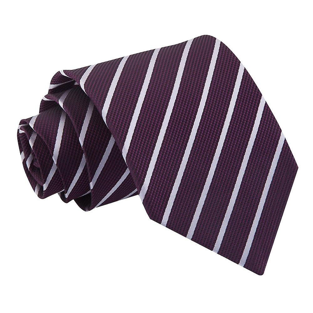 Single Stripe Purple & Silver Tie