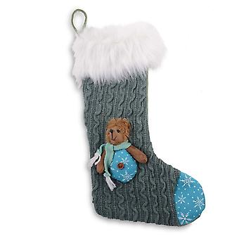 Grey Knitted Fabric Finish Christmas Stocking with Bear