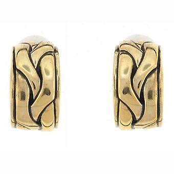 Clip On Earrings Store Antique Gold Braid Semi Hoop Clip On Earrings