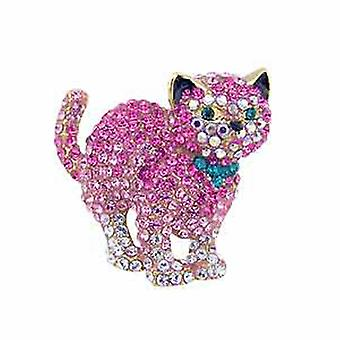Butler and Wilson Bouncing Cat Pink Crystal Brooch