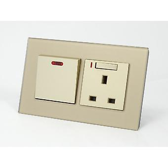 I LumoS AS Luxury Gold Crystal Glass Double 45A Switch with Switched Neon 13A UK Socket