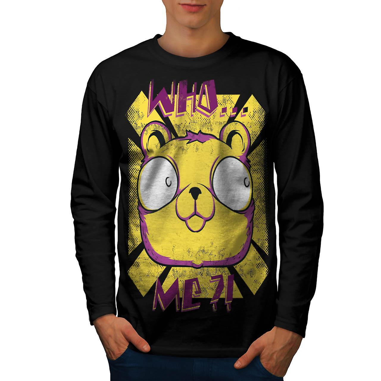 Who Me Wondering Bear Blame Him Men Black Long Sleeve T-shirt | Wellcoda
