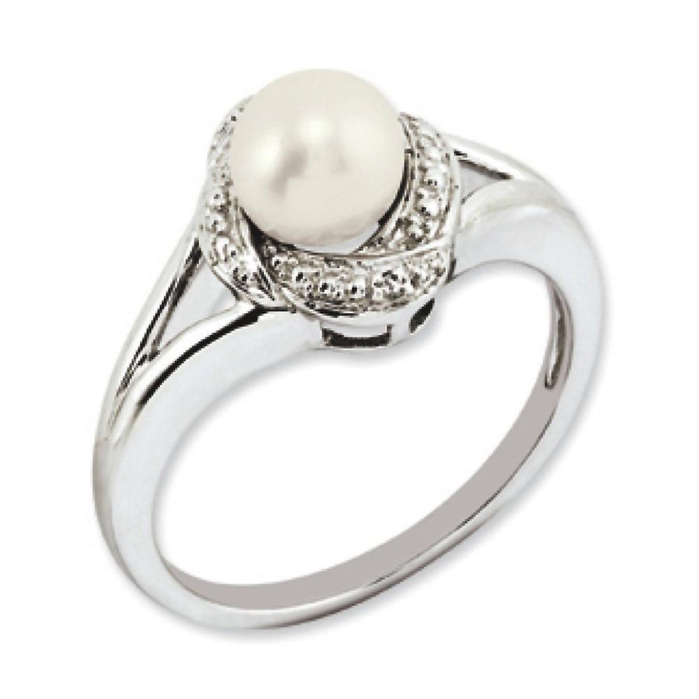 Sterling argent Polished Rhodium-plated Diamond and Freshwater Culturouge Pearl sacue - sacue Taille  5 to 10