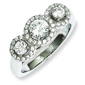 Sterling Silver and CZ Brilliant Embers 3 Stone Ring - Ring Size: 6 to 8