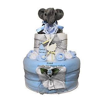2 Tier Blue Baby Boy Elephant Nappy Cake Gift
