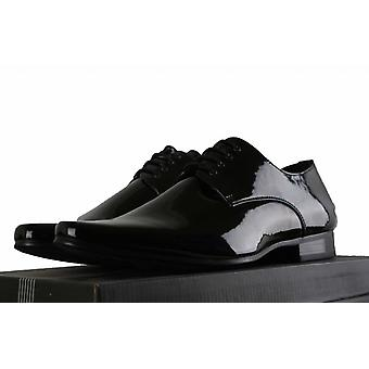 Mens Black Gibson Patent Tie Lace Up Wedding Uniform Dress ShoePointed Toe
