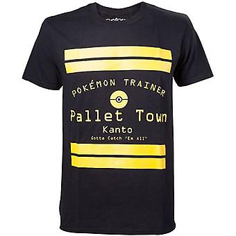 Pokemon Pallet Town Kanto Mens T-Shirt Large Black Model. TS408064POK-L