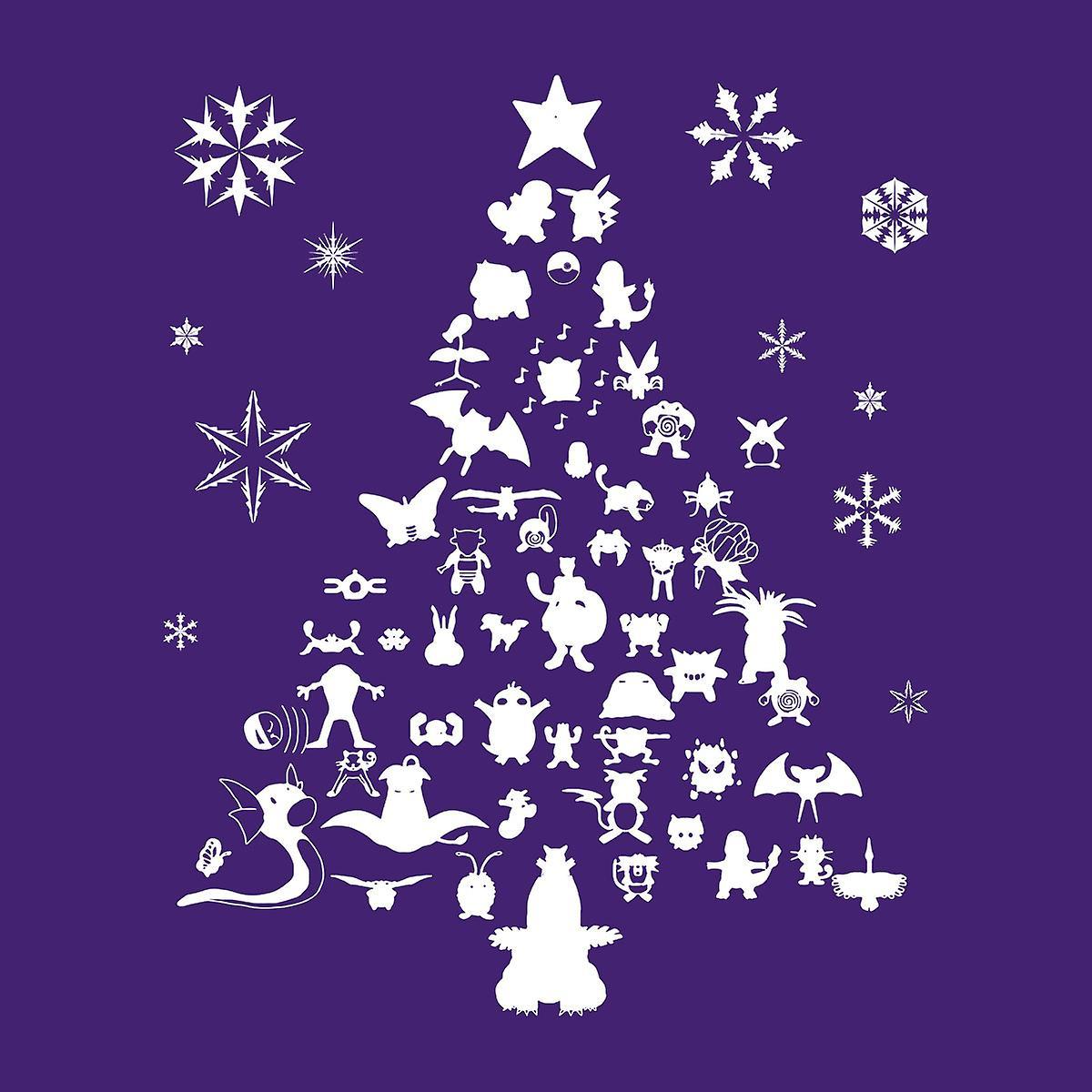 Pokemon Christmas Tree silhuet hvid Sweatshirt med hætte til kvinder