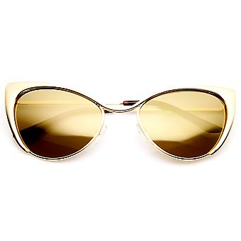 Womens Fashion Full Metal Color Mirrored Lens Cat Eye Sunglasses