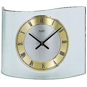 White Gold table clock quartz curved mineral glass metal dial