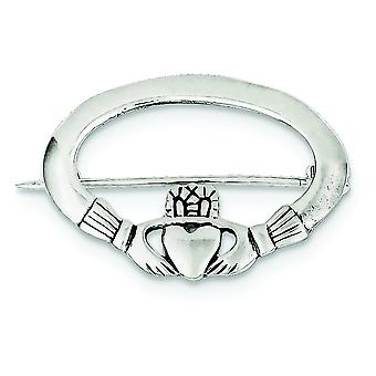 Sterling Silver Solid Polished Antiqued Textured back Claddagh Pin - 4.1 Grams