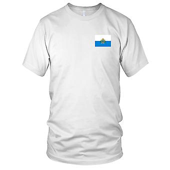 San Marino land nationale Flag - broderet Logo - 100% bomuld T-Shirt Herre T-shirt
