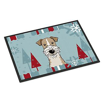 Winter Holiday Wire Haired Fox Terrier Indoor or Outdoor Mat 18x27