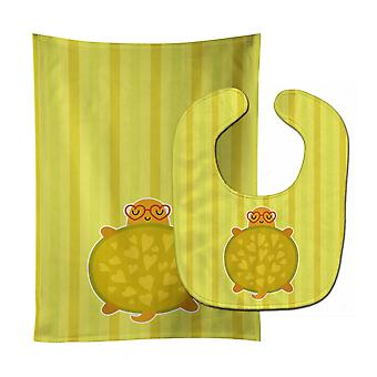 Carolines Treasures  BB6736STBU Turtle with Glasses Baby Bib & Burp Cloth