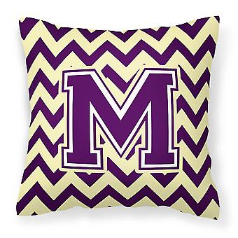 Letter M Chevron Purple and Gold Fabric Decorative Pillow
