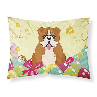 Taie d'oreiller Standard du tissu blanc rouge Pâques-oeufs-Bulldog anglais