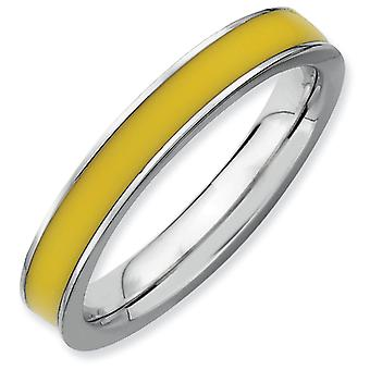 Sterling Silver Polished Rhodium-plated Stackable Expressions Yellow Enameled 3.25mm Ring - Ring Size: 5 to 10