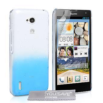 Yousave Zubehör Huawei Ascend G740 Regentropfen Hard Case - blau-Clear