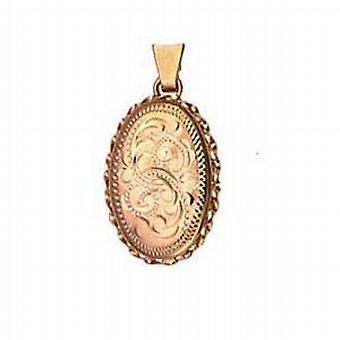 9ct Gold 23x16mm engraved twisted wire edge oval Locket