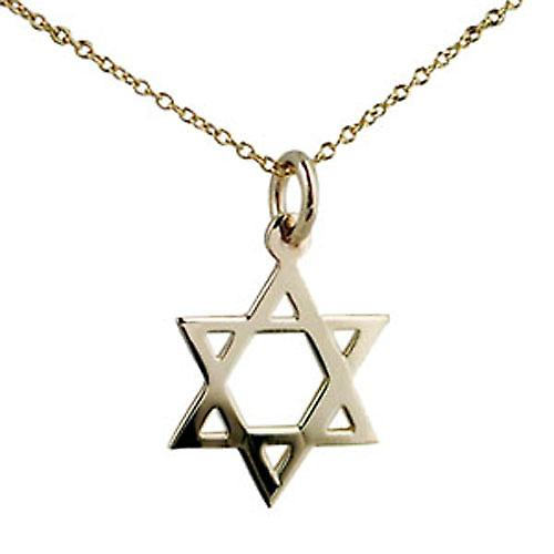 9ct Gold 17x17mm plain Star of David Pendant with a Cable chain