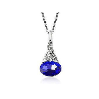 Womens Dark Blue Flower Bud Pendant Necklace