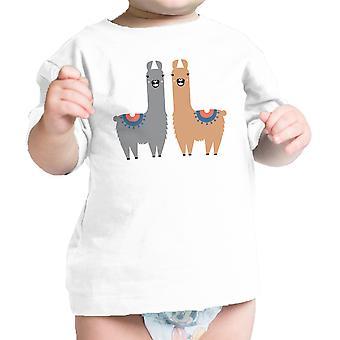 Lama patroon Baby Gift Tee Shirt Wit