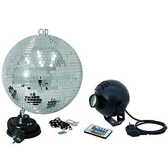 Complete LED mirror ball set 30 cm with remote control