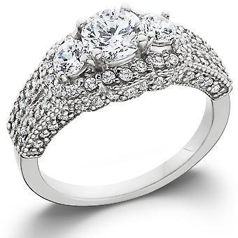 1 5/8ct Vintage Three Stone Halo Diamond Engagement Ring 14K White Gold
