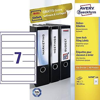 Avery-Zweckform L4760-100 Labels (A4) 38 mm x 192 mm Paper