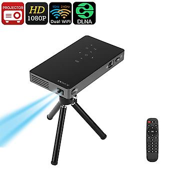 Android Mini Projector - DLP Technology, 1080p Support, Dual-Band WiFi, 100 ANSI Lumens, DLNA, Miracast, Bluetooth, 2W Speaker