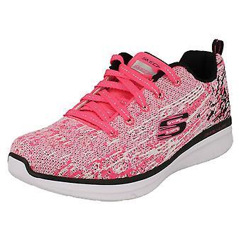 Girls Skechers Sports Trainers High Spirits 81620 - Neon Pink/Black Textile - UK Size 2 - EU Size 35  - US Size 3