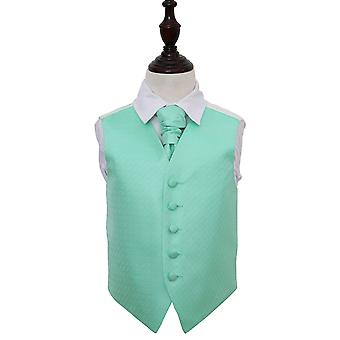 Mint groene Griekse belangrijke bruiloft gilet & Cravat Set voor jongens