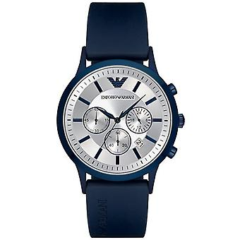 Armani Watches Ar11026 Silver Dial & Blue Silicone Chronograph Men's Watch