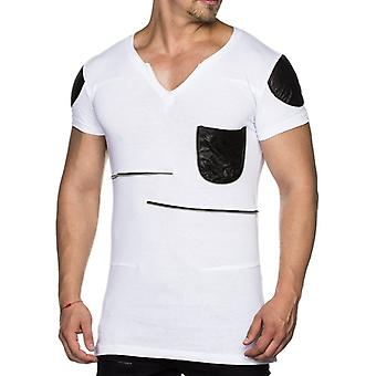 Tazzio fashion men's T-Shirt with leather applications white