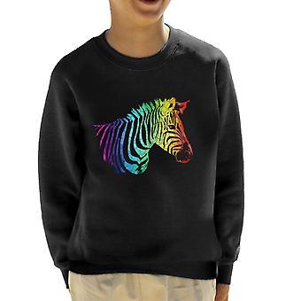Rainbow Zebra Mosaic Kid's Sweatshirt