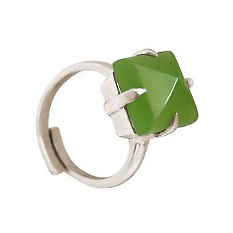 Damas - anillo de plata 925 - Calcedonia - verde - 12 mm - Talla ajustable