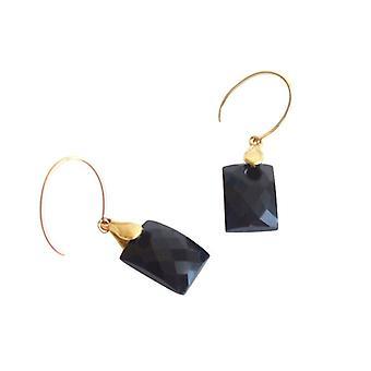Onyx negro pendientes de LENKA Onyx oro plateado