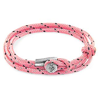 Anchor & Crew Pink Dundee Silver and Rope Bracelet