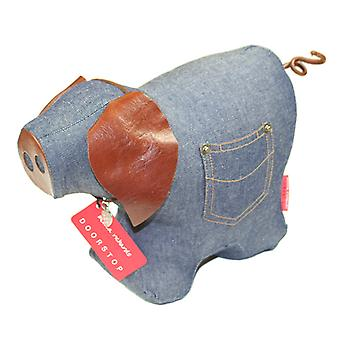 Denim Pig Doorstop by Monica Richards
