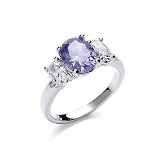 Cavendish French Silver and Cubic Zirconia Blue Beauty Ring