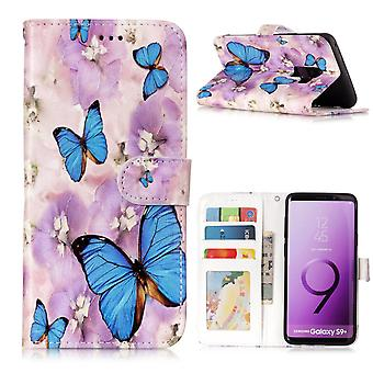 Samsung Galaxy S9 Plus Plånboksfodral - Blue Butterfly and Flower